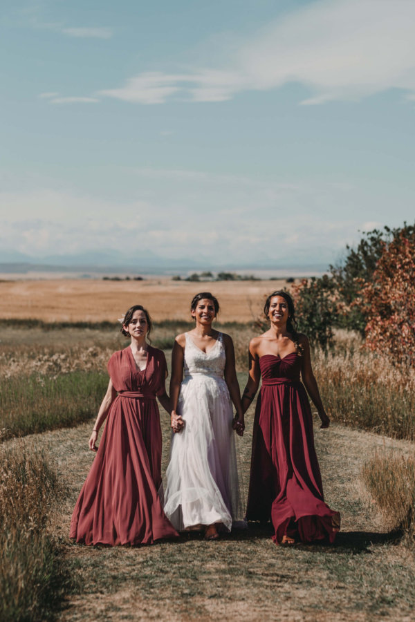 Burgundy Bridesmaids Dresses | Coutts Centre Wedding Photographer | Alberta Wedding Photography